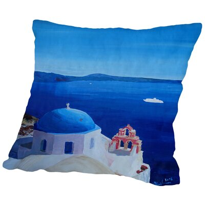 All Blue Santorini Oia Greece with Cruise Ship Throw Pillow Size: 16 H x 16 W x 2 D