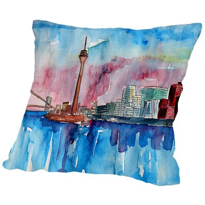 Dusseldorf Germany Media Harbour Sunset Throw Pillow Size: 18 H x 18 W x 2 D