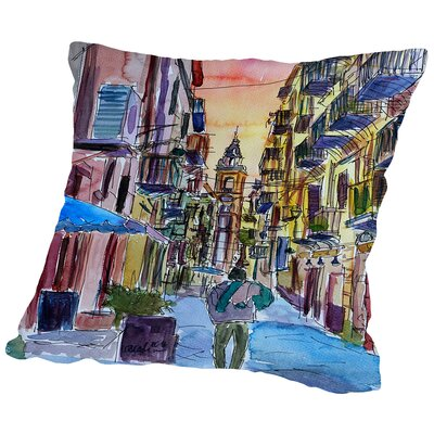Fascinating Palermo Sicily Italy Street Scene Throw Pillow Size: 18 H x 18 W x 2 D