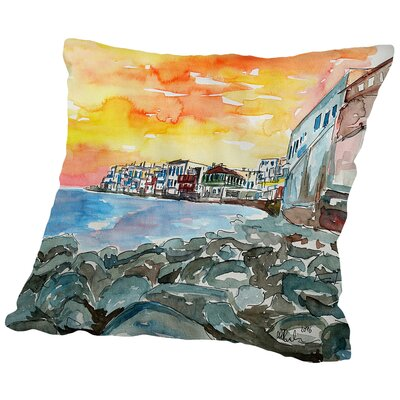 Magnificent Mykonos Sunset Scene Little Venice 2 Throw Pillow Size: 16 H x 16 W x 2 D