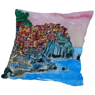 Manarola Cinque Terre Dream Throw Pillow Size: 14 H x 14 W x 2 D
