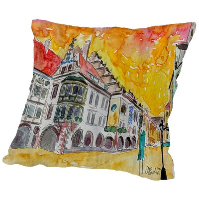 Munich Hofbrauhaus Sunset Am Platzl Throw Pillow Size: 14 H x 14 W x 2 D
