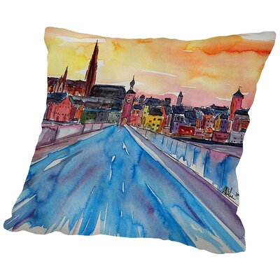 Regensburg Pearl on Danube from Stone Bridge2 Throw Pillow Size: 18 H x 18 W x 2 D