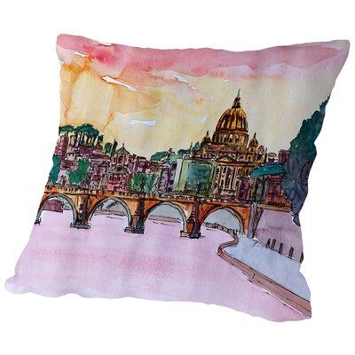 Vatican Rome Italy Sunset on River Tiber with St Peter I Throw Pillow Size: 14 H x 14 W x 2 D