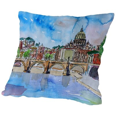 Vatican Rome Italy Blue on River Tiber with St Peter II Throw Pillow Size: 14 H x 14 W x 2 D