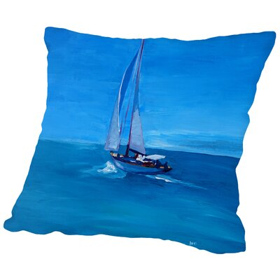 Sailing Into The Blue Throw Pillow Size: 16