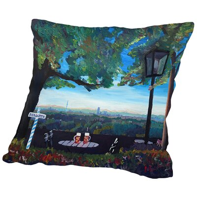 Munich View Beer Garden Skyline Alps Throw Pillow Size: 14