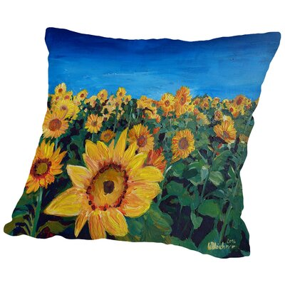 Beautiful Morning at Sunflower Fields Throw Pillow Size: 14 H x 14 W x 2 D