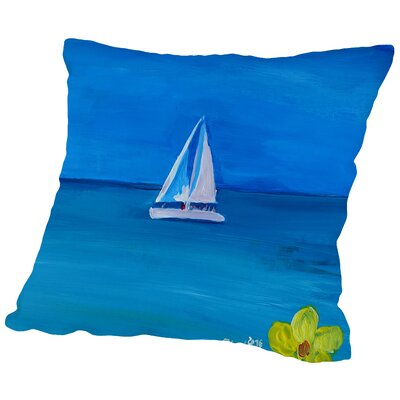 Set Sail on A White Boat in The Caribbean I Throw Pillow Size: 16 H x 16 W x 2 D