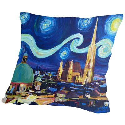 Starry Night in Vienna Austria Saint Stephan Cathedral Van Gogh Inspirations Throw Pillow Size: 14 H x 14 W x 2 D