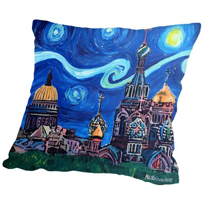 Starry Night in St Petersburg Russia Throw Pillow Size: 14 H x 14 W x 2 D