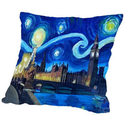 Starry Night London Parliament Van Gogh Inspirations in England Throw Pillow Size: 16 H x 16 W x 2 D