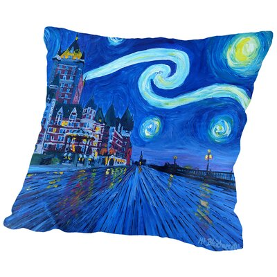 Starry Night Quebec Chateau Frontenac Van Gogh Inspirations Throw Pillow Size: 16 H x 16 W x 2 D