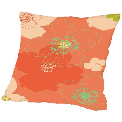 Big Poppy Throw Pillow Size: 14 H x 14 W x 2 D, Color: Blush