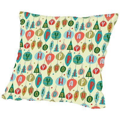 Happy Holidays 1 Throw Pillow Size: 14 H x 14 W x 2 D