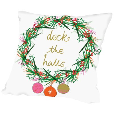 Deck The Halls Throw Pillow Size: 14 H x 14 W x 2 D