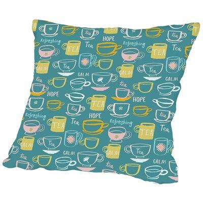 Teacups Throw Pillow Color: Aqua, Size: 18 H x 18 W x 2 D