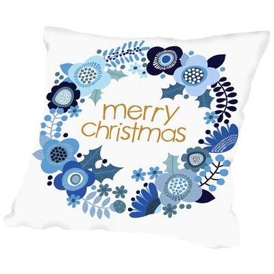Christmas Wreath Throw Pillow Size: 14 H x 14 W x 2 D