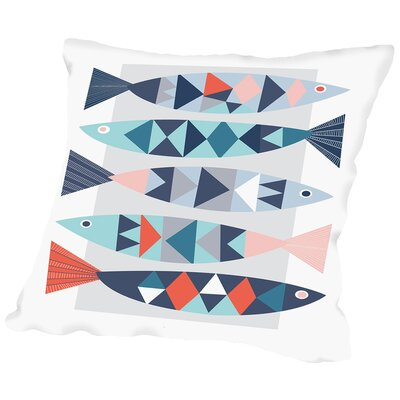 Geo Fish Throw Pillow Size: 14 H x 14 W x 2 D
