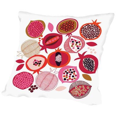 Pomegranates Throw Pillow Size: 18 H x 18 W x 2 D, Color: White