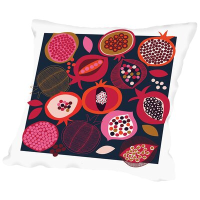 Pomegranates Throw Pillow Color: Black, Size: 16 H x 16 W x 2 D