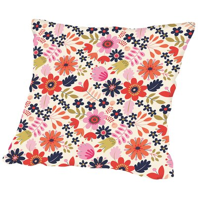 Valentine Floral Throw Pillow Size: 14 H x 14 W x 2 D, Color: White