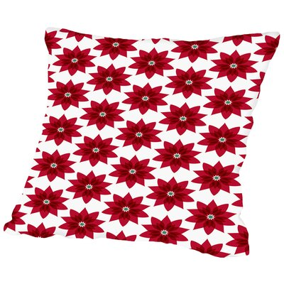 Holiday Poinsettia Throw Pillow Size: 16 H x 16 W x 2 D
