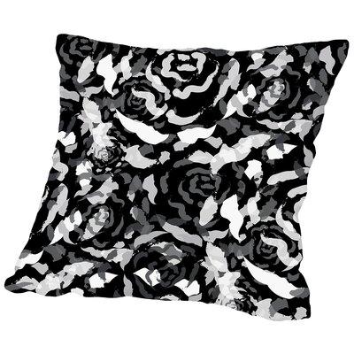 Rose Bouquet Throw Pillow Size: 18 H x 18 W x 2 D, Color: Black