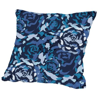 Rose Bouquet Throw Pillow Size: 14 H x 14 W x 2 D, Color: Blue