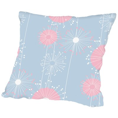 Dandelions Throw Pillow Size: 16 H x 16 W x 2 D, Color: Pastel Blue
