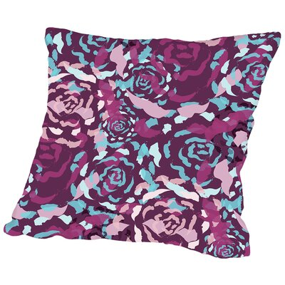 Rose Bouquet Throw Pillow Size: 18 H x 18 W x 2 D, Color: Plum