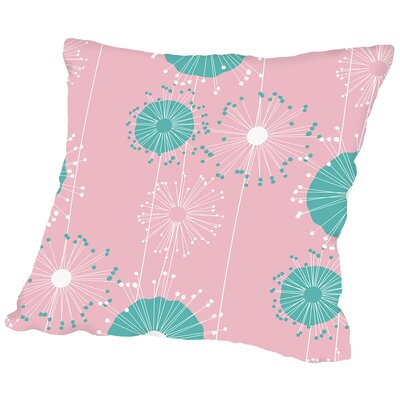 Dandelions Throw Pillow Color: Pastel Pink, Size: 18