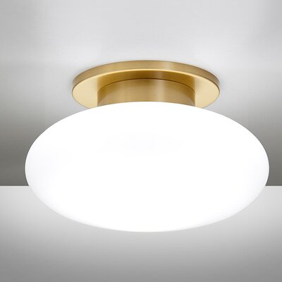 1-Light Ceiling Fixture Semi-Flush Finish: Brushed Brass