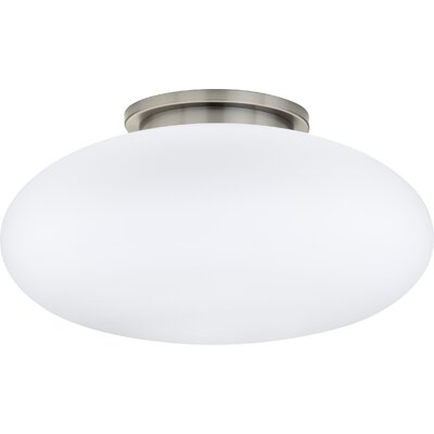 1-Light Small Ceiling Fixture Semi-Flush Finish: Satin Nickel, Glass Size: Large