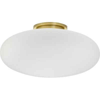 1-Light Small Ceiling Fixture Semi-Flush Glass Size: Small, Finish: Brushed Brass