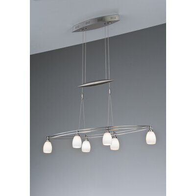 6-Light Kitchen Island Pendant Finish: Satin Nickel, Shade Color: Berchtesgaden