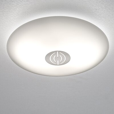 2-Light Opalika Flush Mount Finish: Satin Nickel, Style: Solid, Size: Large