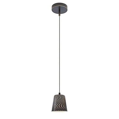 1-Light Round Canopy Zebra Pendant Cable Size: 6 Feet, Finish: Hand Brushed Old Bronze