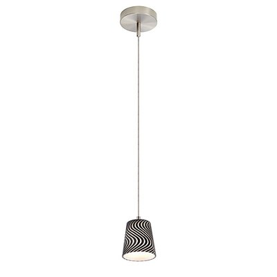 1-Light Round Canopy Zebra Pendant Cable Size: 6 Feet, Finish: Satin Nickel