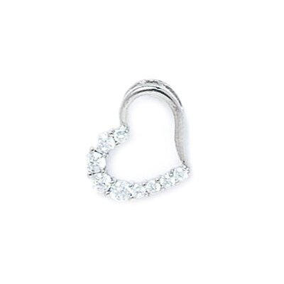 14k Gold CZ Small Heart Pendant