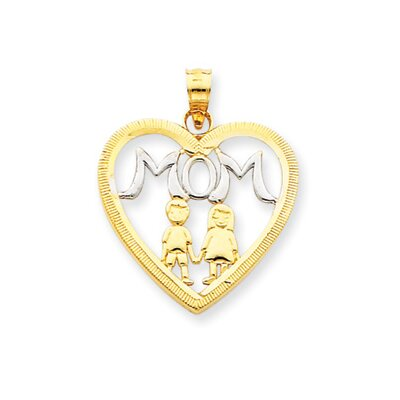 14k and Rhodium Mom With Kids Heart Pendant