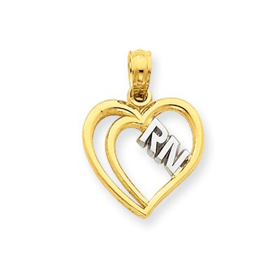 14k and Rhodium RN Heart Pendant- Measures 18.9x13.7mm