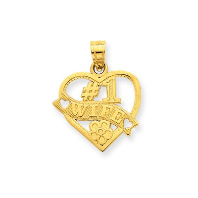 14k Number 1 Wife Heart Pendant