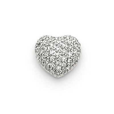 14k White Gold Diamond Pave Heart Pendant