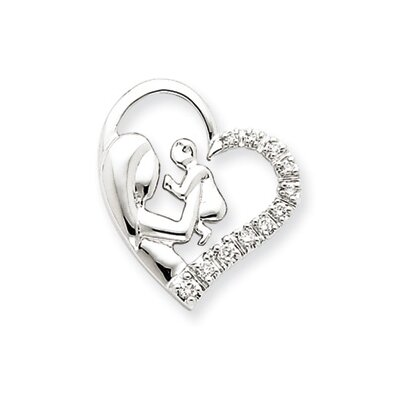 14k White Gold Mother and Baby Diamond Heart Pendant