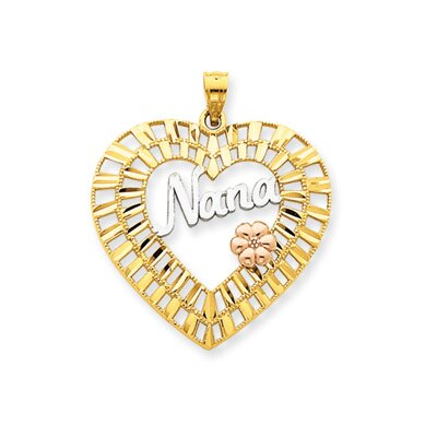 14k Yellow Rose Gold Rhodium Diamond-Cut Nana Heart Pendant