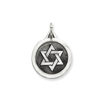 Sterling Silver Antiqued Star of David Medal Pendant