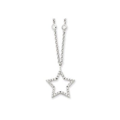 Sterling Silver CZ Star Necklace - 16 Inch- Spring Ring