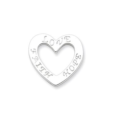 Sterling Silver Faith Hope and Love Heart Pendant