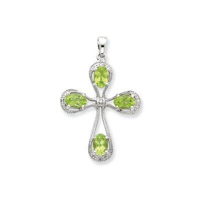 Jewelryweb Sterling Silver Rhodium Peridot and Diamond Cross Pendant at Sears.com